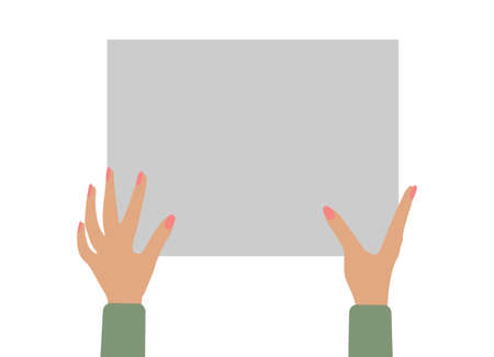 female hands holding empty banner, copy space for text. Vector illustration