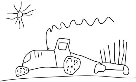Moving tractor with trailer, drawing of child, hand drawn. Vector illustration