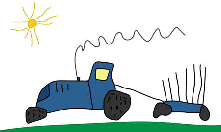 Drawing of child, hand drawn, moving blue tractor with trailer. Vector illustration Stock Illustratie