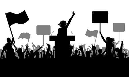 Politics meeting. Silhouette of demonstrating crowd of people with flags, banners. Woman speaker. Demonstration or protest, or manifestation, or strike, or revolution, or riot. Vector illustration Vettoriali