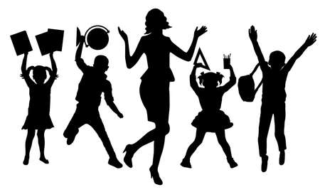 Silhouettes of happy teacher and school children of first graders with books, globe, copybooks, ruler, pens and pensils. Back to school. Vector illustration.