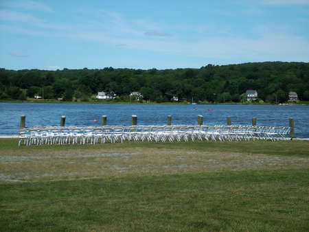 seating area: View of an outdoor seating area, wedding reception
