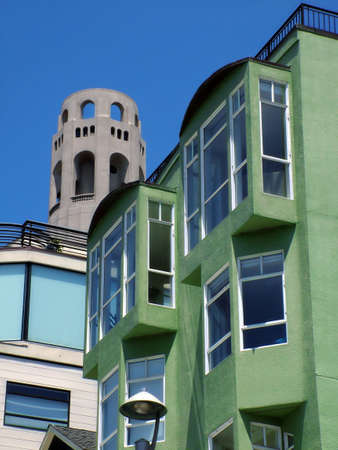 coit tower: Unique view of Coit Tower, historic landmark of San Francisco