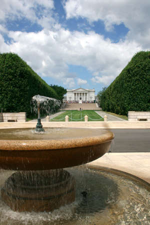 Frontal view of the amphitheater in front of the tomb of the unknown soldier, Arlington Cemetery, VA (vertical view) Stock Photo