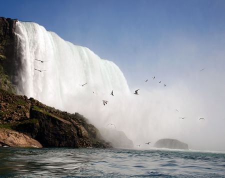 View into the Horseshoe Bend, the Canadian side of Niagara Falls, view from below Stock Photo