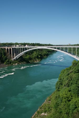 View of Rainbow Bridge connecting the US and Canada at Niagara Falls