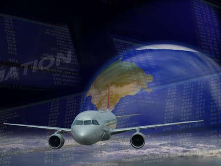 Repr�sentation conceptuelle du transport a�rien, vol, la technologie moderne, la mondialisation et de la connectivit�  Banque d'images