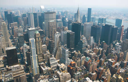 Aerial view from the Empire State Building of New York Sky line and architecture, view towards lower manhattan