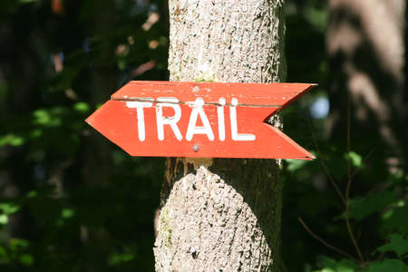 Trail Sign on a tree photo