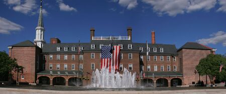 alexandria: Panoramic view of the city administration in old town in Alexandria City, Virginia. Besides serving an administrative purpose the square is home to farmers markets and events Stock Photo