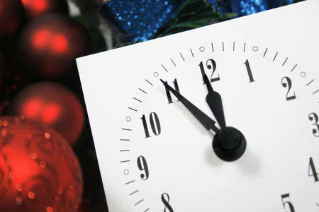 View of a clock, counting down to midnight on a New Year's night Banque d'images
