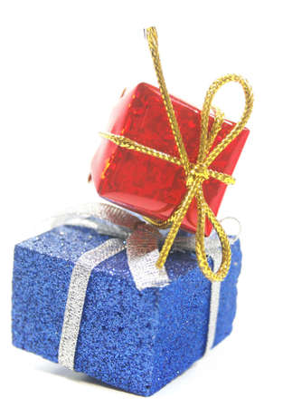 Holiday gift boxes, isolated over white background photo
