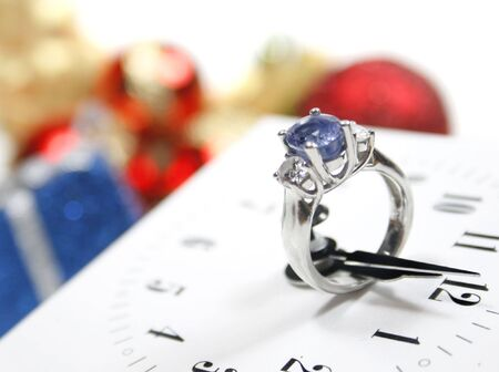 Conceptual image representing proposal on New Year's night, expectation, eternity, being together for a lifetime, surprise