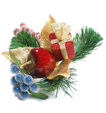 적합: Winter holiday arrangements and ornaments isolated over white. Suitable for Christmas and New Years themed designs 스톡 콘텐츠