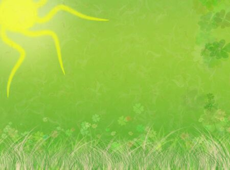 Beautiful green, nature illustration background with st. patrick's day elements (original shamrock pattern).  Stock Illustration - 2571708