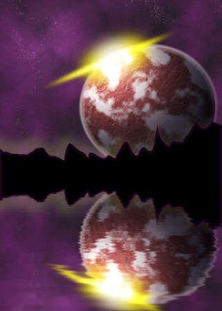 図太陽が昇ると空間に赤い惑星