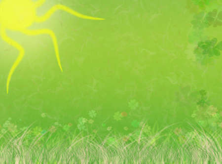 Beautiful green, nature illustration background with st. patrick's day elements (original shamrock pattern). Stock Illustration - 2639881