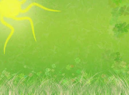 Beautiful green, nature illustration background with st. patrick's day elements (original shamrock pattern). Stock Illustration - 2639881