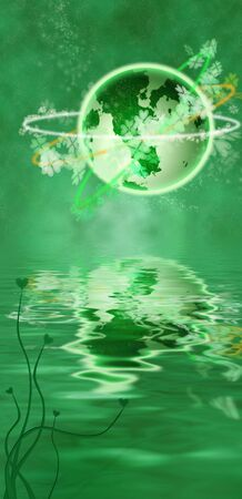irish landscape: St. Patricks Day illustration with planet, shamrocks, clovers and green orange white colors