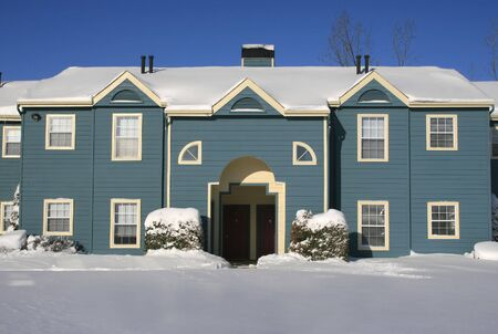 View of a snow covered house in winter Stock Photo - 2813141