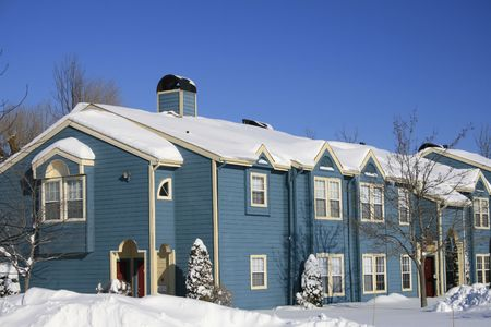 View of a snow covered house in winter Stock Photo - 2813199