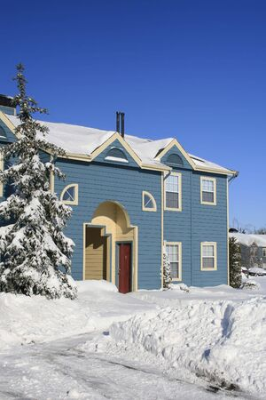 View of a snow covered house in winter Stock Photo - 2813200
