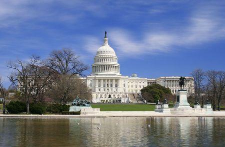 Vue de Washington DC le Capitole, la vue unique de la construction et la pelouse en face d'elle  Banque d'images