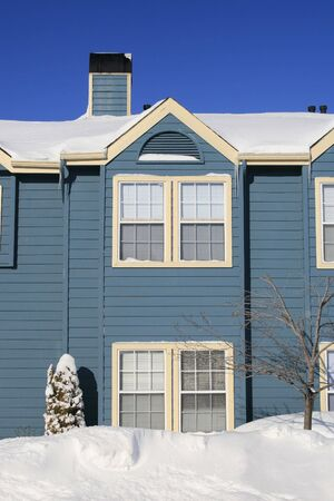 View of a snow covered house in winter Stock Photo - 2813155
