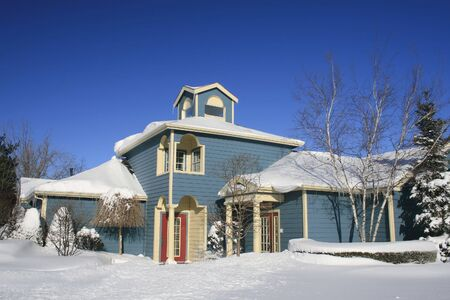 View of a snow covered house in winter Stock Photo - 2813151