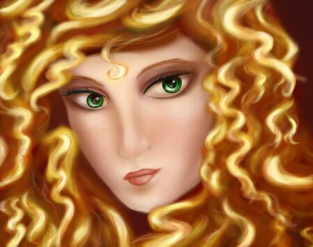 stunning: Original illustration of a beautiful female face, close up portrait of a woman  Stock Photo