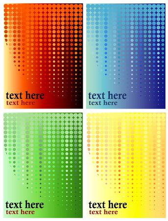 distinct: Halftone background illustration, four distinct gradients in dots and background