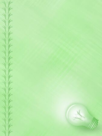 Illustration of a green background with light bulb and border, frame design and background texture