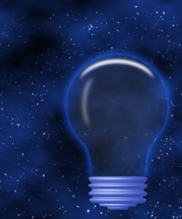 Lightbulb illustration on blue background Stock Photo