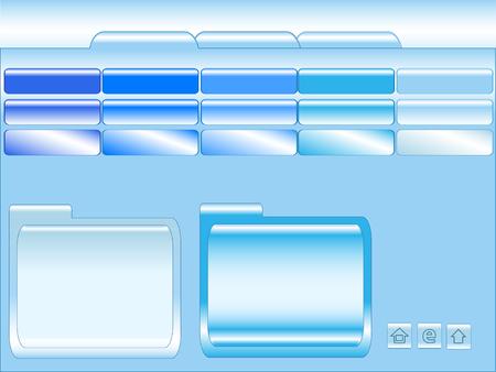 Bleu brillant, m�tallique mod�le de site avec des boutons, les en-t�tes, des banni�res et l'espace fen�tre de texte  Illustration