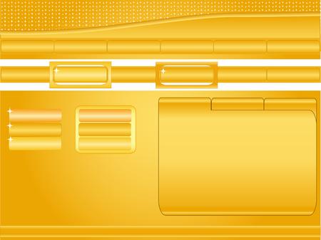 Orange et jaune, brillant mod�le de site avec des boutons, les en-t�tes, des banni�res et l'espace fen�tre de texte  Illustration