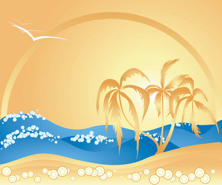 Summer themed illustration with palm trees, tropical island,  rolling ocean waves, bubbles and birds