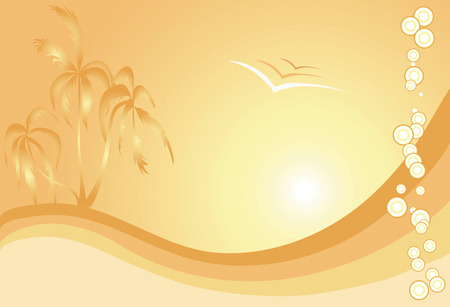 Summer themed illustration with palm trees, rolling sand dunes or waves in yellow - orange palette