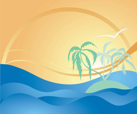 Summer themed illustration with palm trees, tropical island,  rolling ocean waves and birds Ilustração