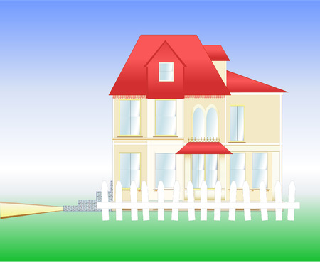 penthouse: illustration of a  house with red roof, two levels, fence, steps and pathway