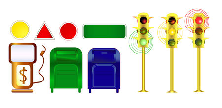 City clip art suitable for urban, city, architecture designs: gas pump, mailboxes, empty signs for text and traffic lights