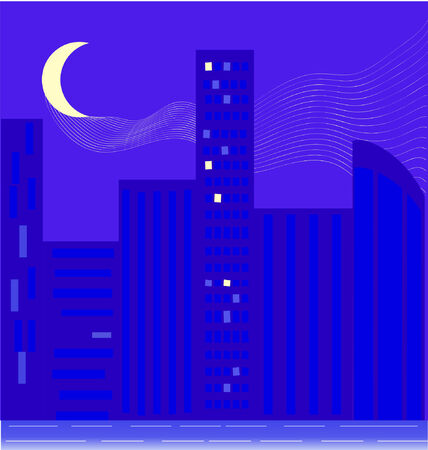 Illustration of a city skyline at night with moon and moonlight