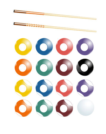 Billiards, pool set with all balls and two types of cue sticks Vector