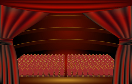 theater seat: View of a theater audience hall from the stage through the curtains Illustration