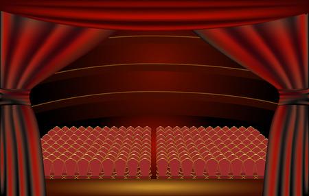 Weergave van een theater publiek de zaal vanaf het podium door de gordijnen