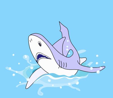 gill: Illustration of a shark splashing over blue background