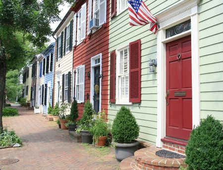 secure home: City street in Old Town, Alexandria, VA.  Stock Photo