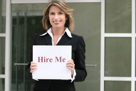 business roles: Attractive business, corporate woman for hire, employment-unemployment theme