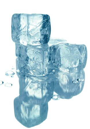 Blue melting ice cubes isolated over white background Фото со стока