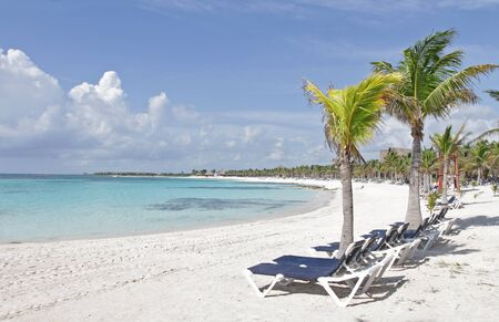 riviera maya: Empty white sand beach, ocean and palm trees in Mexico, Riviera Maya Stock Photo