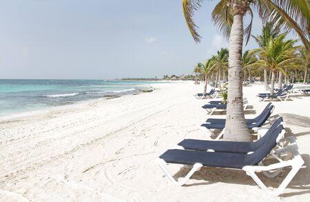 riviera maya: Vac�as blancas arenas beach, Oc�ano y palm �rboles en M�xico, Riviera Maya